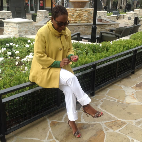 White jeans with yellow jacket   40plusstyle.com