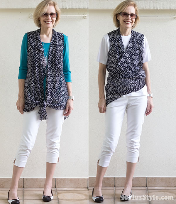 Tying the Cascading Vest around the waist | 40plusstyle.com