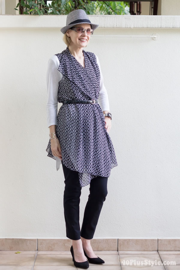 Wearing the Cascading Vest belted to accentuate the waist | 40plusstyle.com