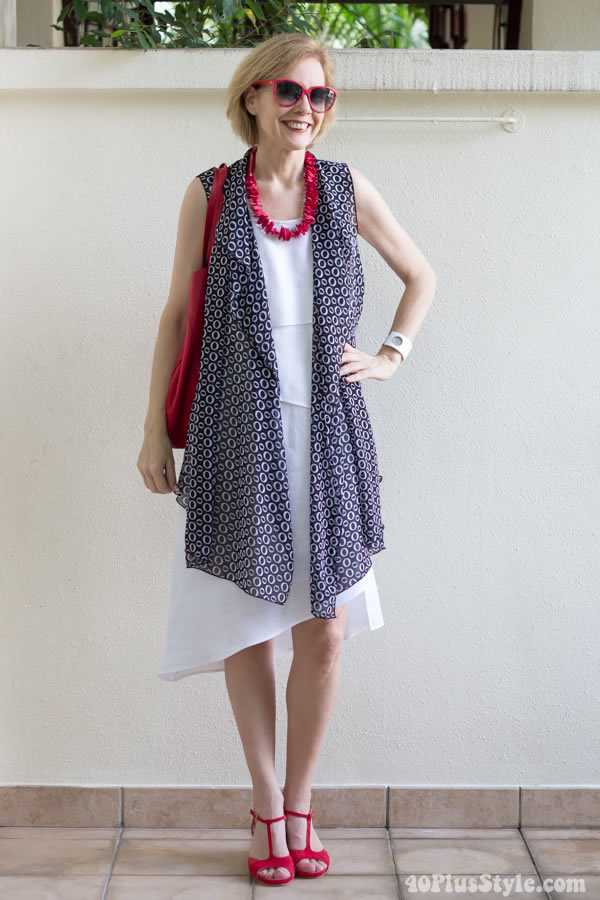 The Cascading Vest losely draped over a white dress |40plusstyle.com