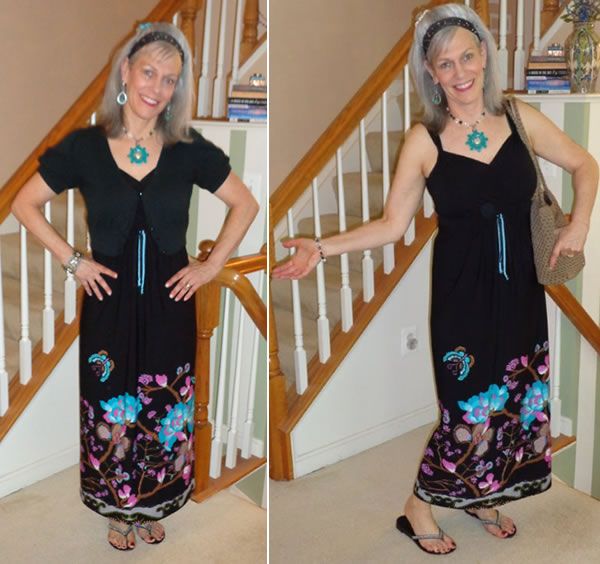 a printed maxi dress worn 2 ways | 40plusstyle.com