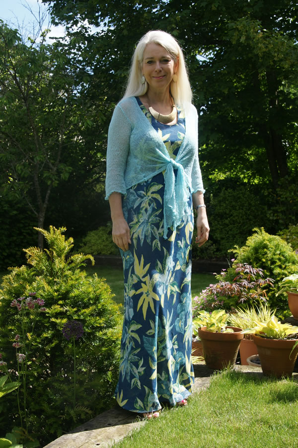 Lorraine looking fabulous in a blue flower maxi dress | 40plusstyle.com