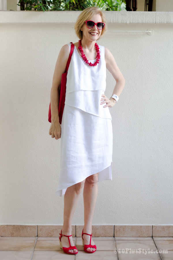 asymmetrical white summer dress