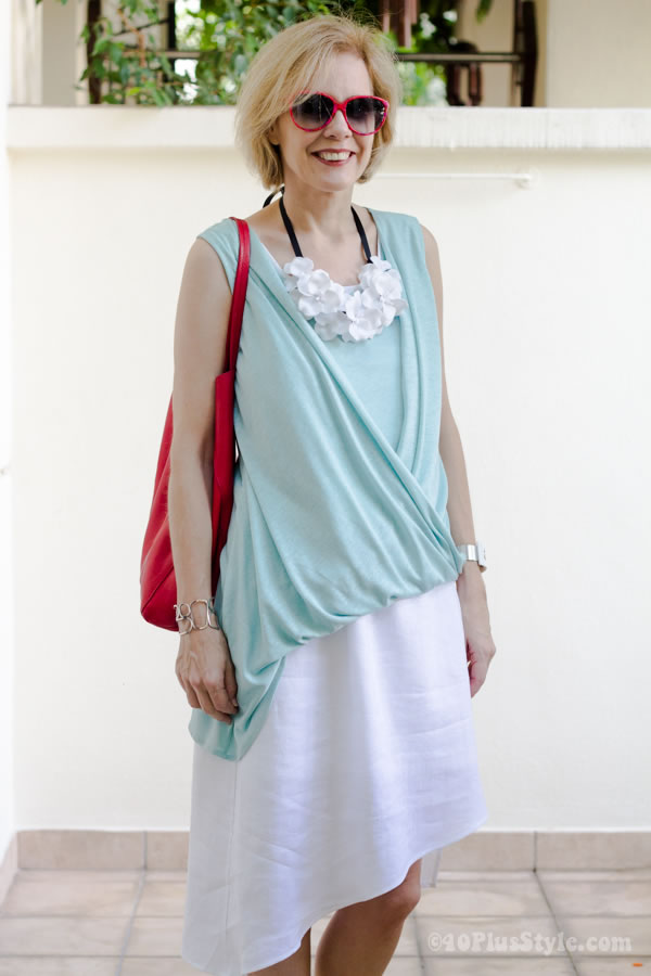 Stell Carakasi clothes with Ken Samudio necklace | 40plusstyle.com