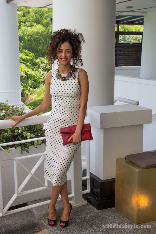 body-con polkadot black and white dress | 40plusstyle.com