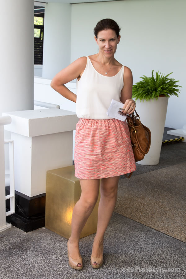short printed skirt and neutral top | 40plusstyle.com