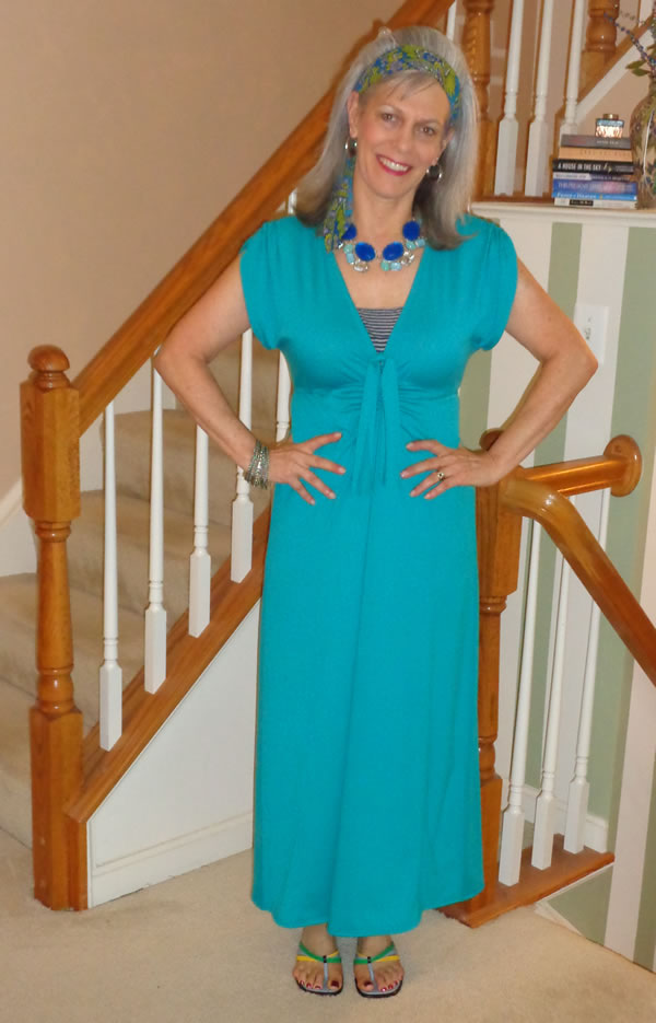 turquoise maxi dress | 40plusstyle.com