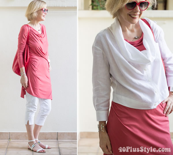 coral and white outfit | 40plusstyle.com