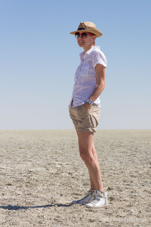 Wearing shorts on a wildlife safari in Etosha Park, Namibia