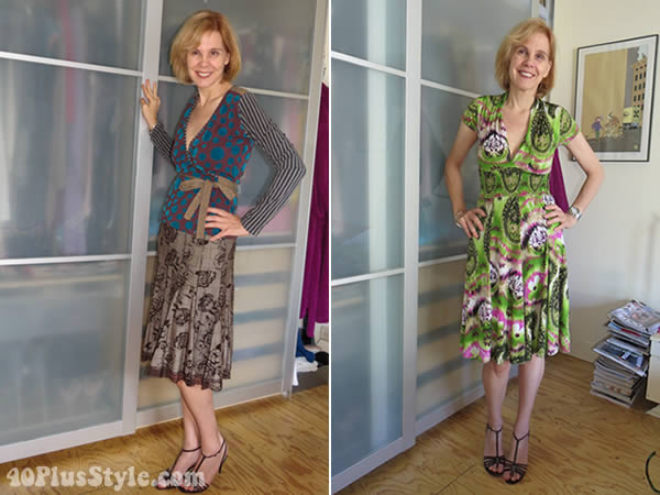 Wearing clothes that accent the waist in a styling experiment | 40plusstyle.com