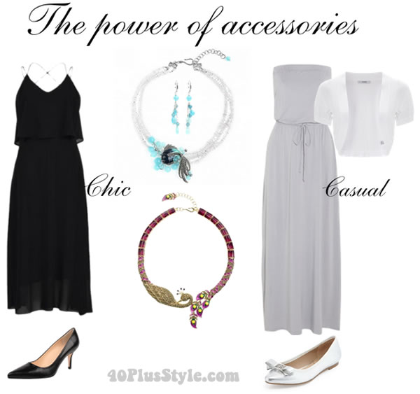 how to wear a statement necklace with black or gray | 40plusstyle.com