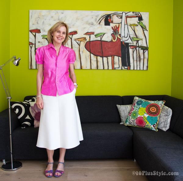 Ralph Lauren blouse and Zara skirt | 40plusstyle.com