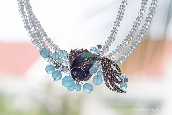 Aquamarine & Chalcedony Angel Fish Necklace | 40plusstyle.com