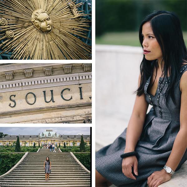 Souri wearing a gray dress | 40plusstyle.com