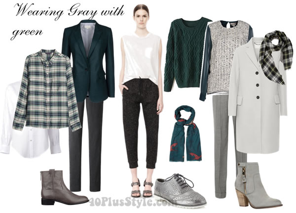How To Wear Gray With Dark Green 40plusstyle