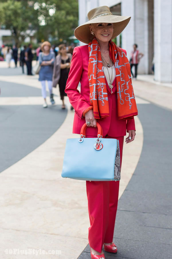 Lady in a red pant suit | 40plusstyle.com