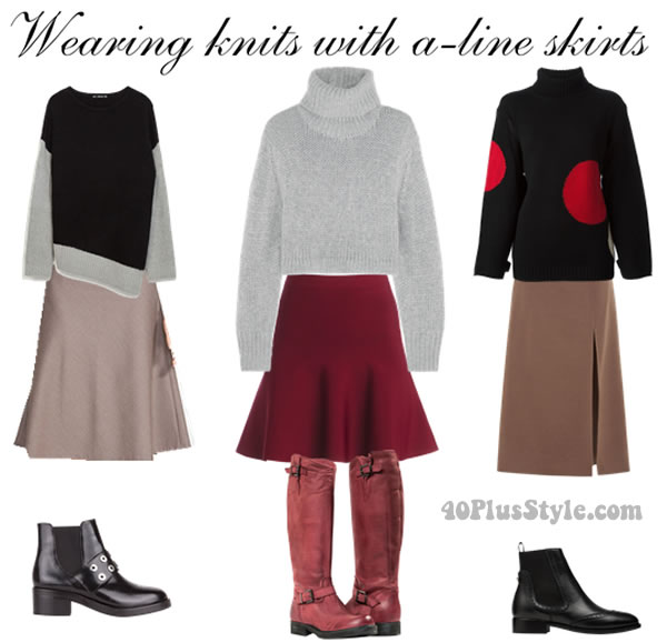 knitted jumper with fitted aline skirt | 40plusstyle.com