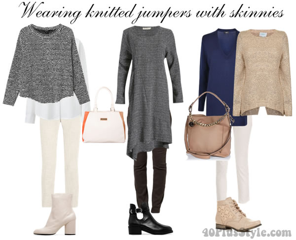 knitted sweater with skinnies | 40plusstyle.com