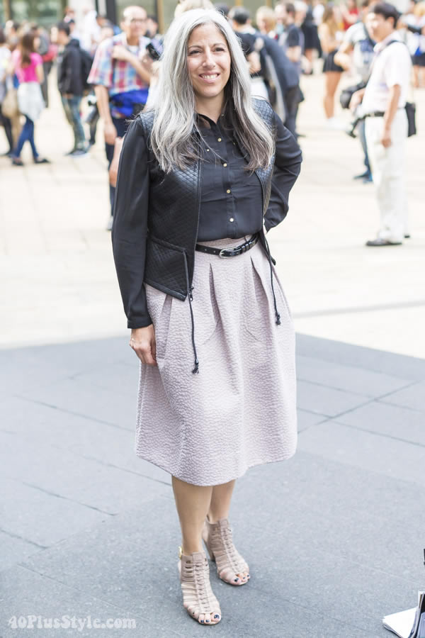 Wearing a pastel skirt with black   40plusstyle.com