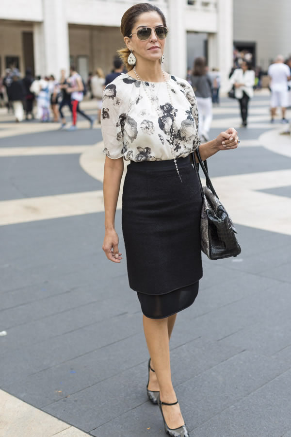 classically chic with a black skirt and printed blouse | 40plusstyle.com