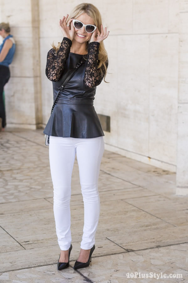 white pants with black lace top and leather | 40plusstyle.com