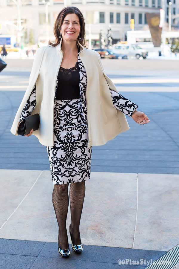 printed black and white suit with white cape | 40plusstyle.com