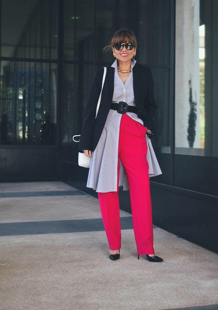 Carelia's dress over pants outfit | 40plusstyle.com