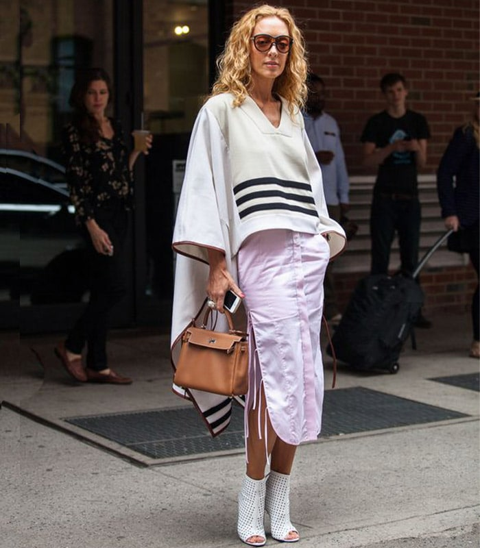 mixing a poncho with a skirt | 40plusstyle.com
