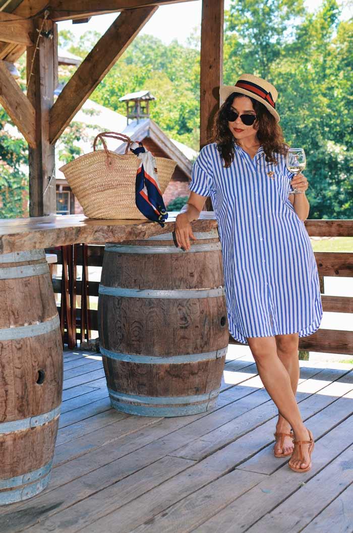 Carelia wearing striped shirtdress | 40plusstyle.com