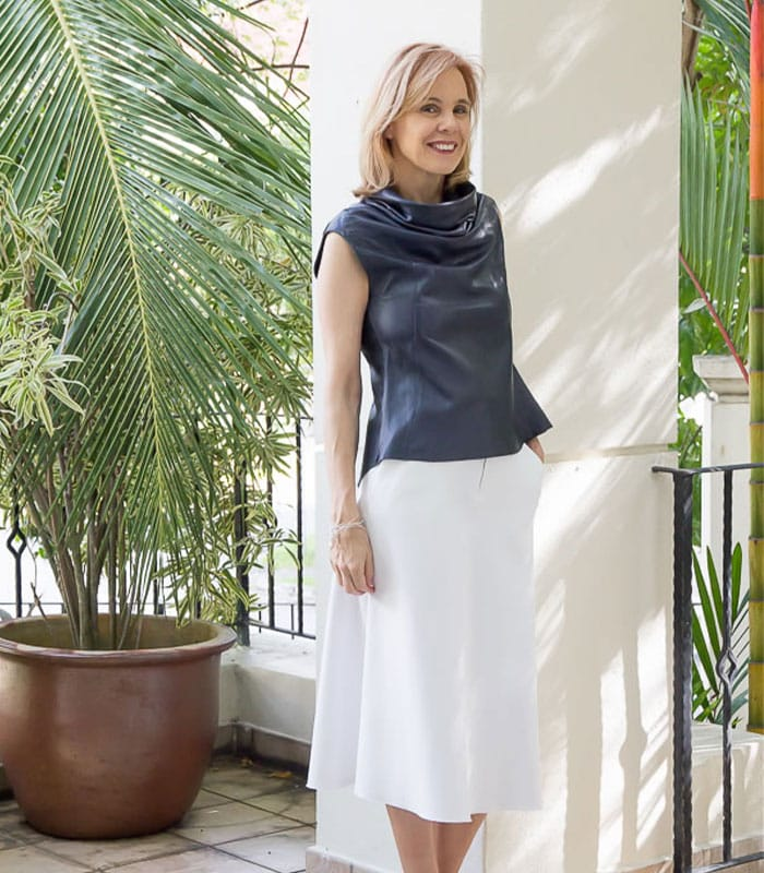 How to wear a leather top in a classy way with a skirt