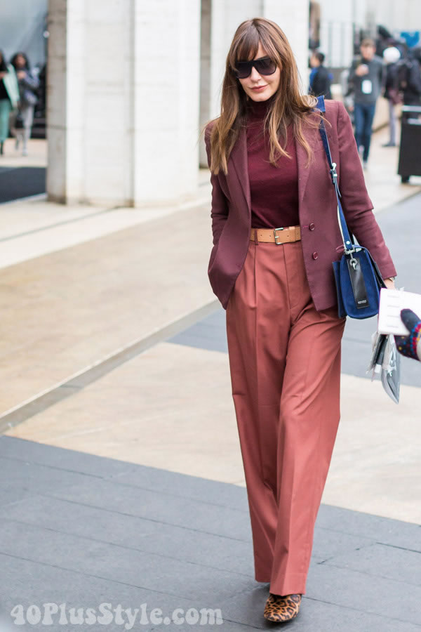 How to wear burgundy | 40plusstyle.com