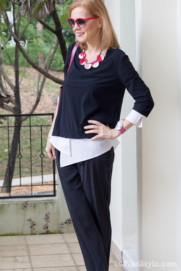 black and white layered top | 40plusstyle.com