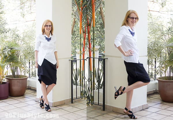 blouse and skirt by Porto | 40plusstyle.com