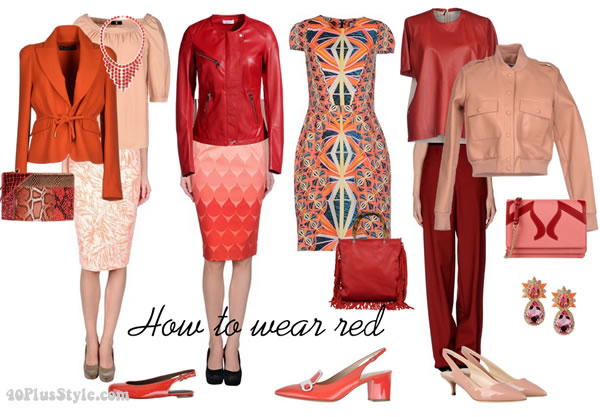 how to wear red with peach and orange | 40plusstyle.com