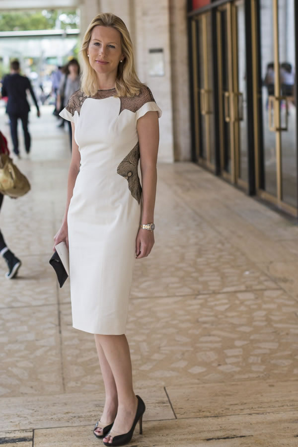 A chic white dress with black lace | 40plusstyle.com