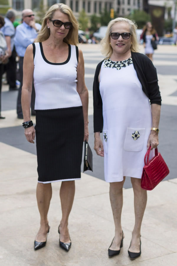 Wearing perfectly matching black and white outfits | 40plusstyle.com