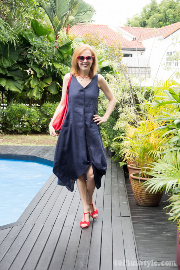 A Blue Draped Dress For Hot Summer Weather 40plusstyle Com