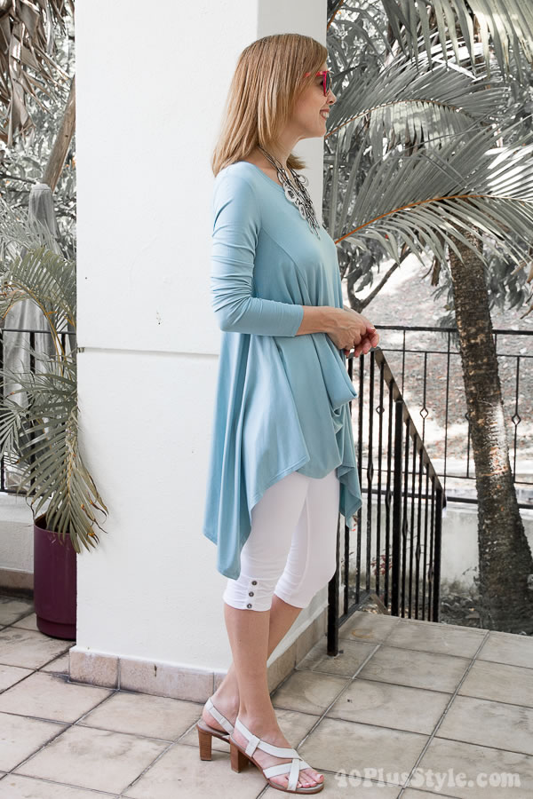 mint draped tunic with leggings | 40plusstyle.com
