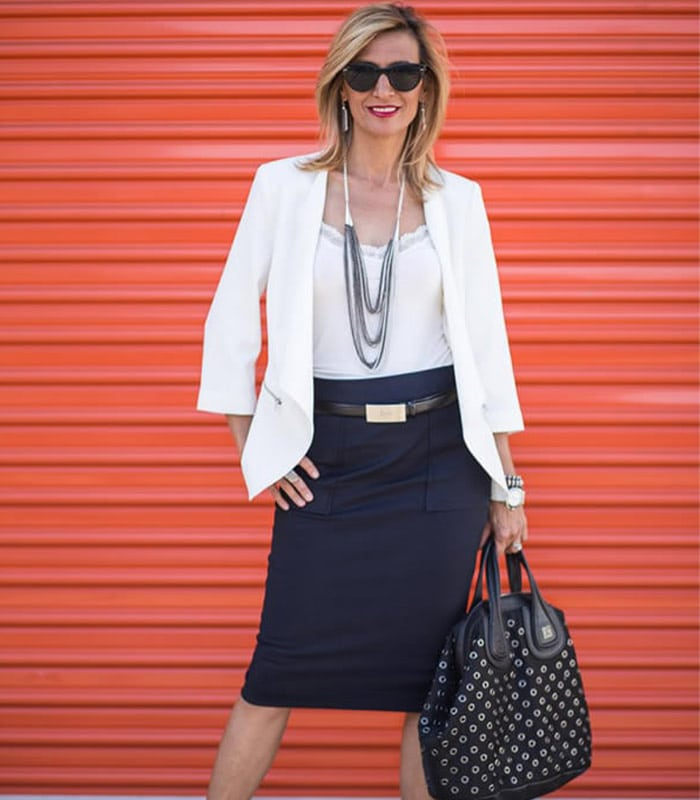 40+Style Inspiration: taking a jacket from day to evening