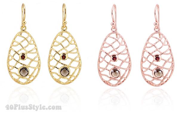 Garnet Quartz Mesh Earrings - Taula | 40plusstyle.com