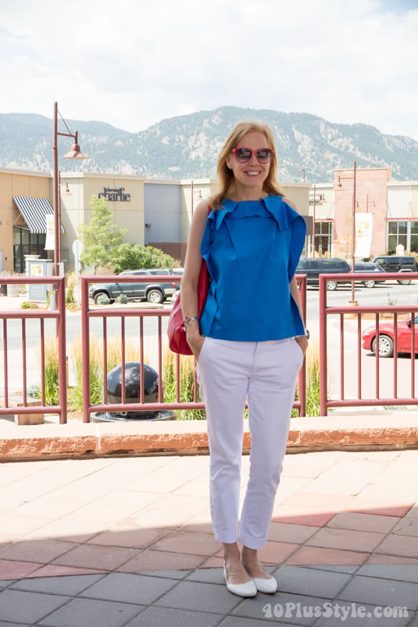 Stylish outfit for women over 40: Skinny 7/8 pants with chic blue top for Summer or Spring | 40plusstyle.com