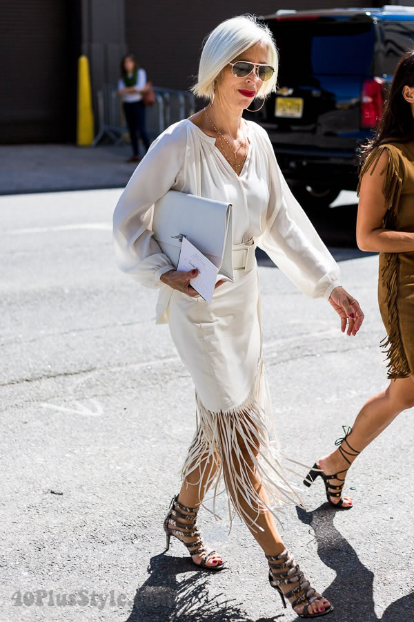 Post image for Linda Fargo wearing fringe at New York Fashion Week