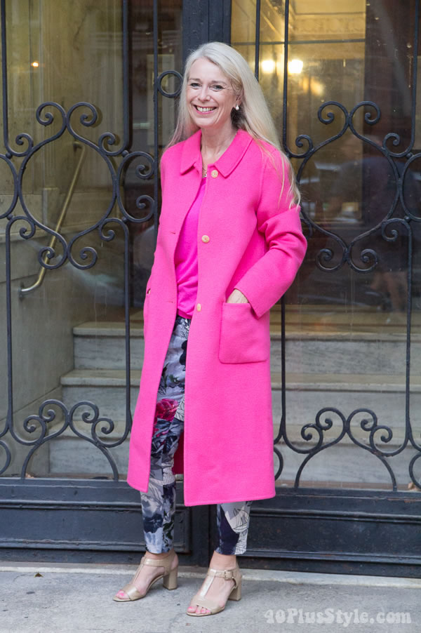 Pink winter coat | 40plusstyle.com