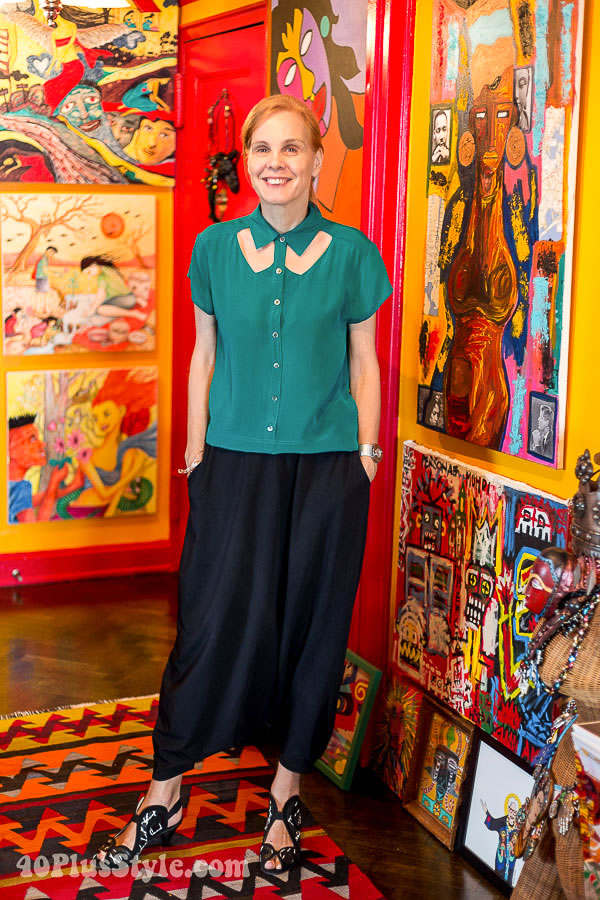 Post image for Dropped crotch pants and a blouse with cut-outs in a house full of colour and art!