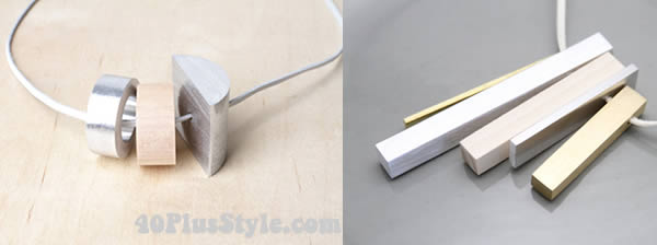 Minimalist, industrial and sculptural jewelry. I love the interplay of the different materials. | 40plusstyle.com