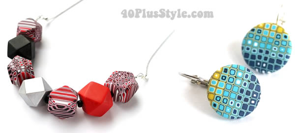 Great colorful jewelry in interesting shapes. | 40plusstyle.com