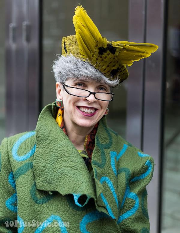 Valerie wearing a unique hat | 40plusstyle.com