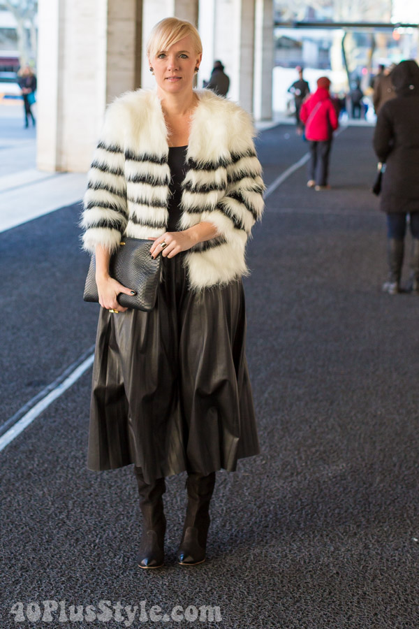 Black White Fur Coat Midi SKirt| 40plusstyle.com