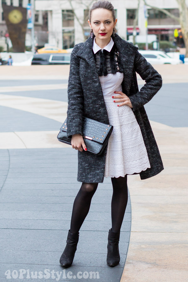 Black Coat White Dress Booties | 40plusstyle.com