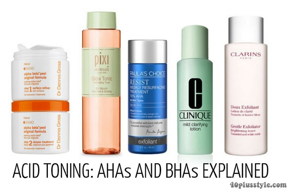 What is the difference between AHAs and BHAs and how can acid toning rejuvenate your skin | 40plusstyle.com